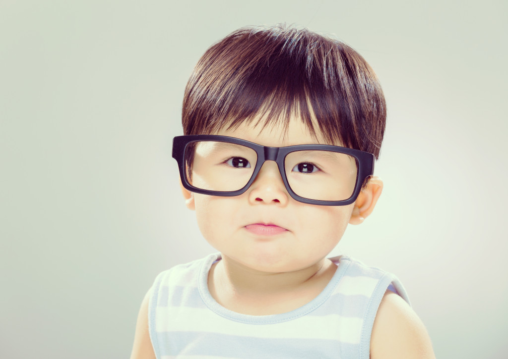 Little boy wearing spectacles